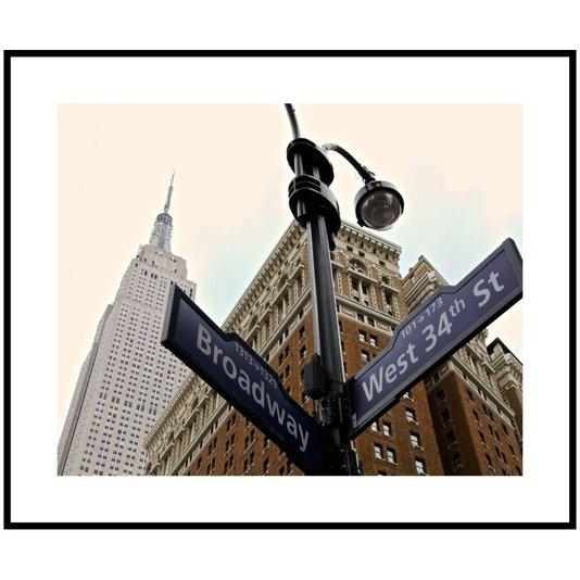 Quadro Decorativo com Moldura Preta Placas de Ruas nos Estados Unidos 120x100cm