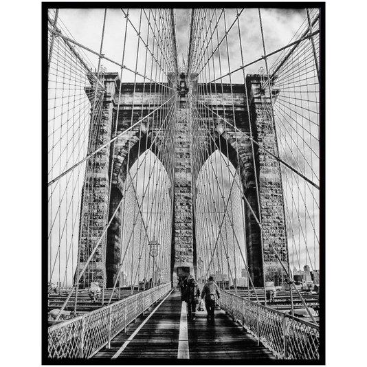Quadro Decorativo com Moldura Preta Ponte do Brooklyn em Nova Iorque 100x130cm