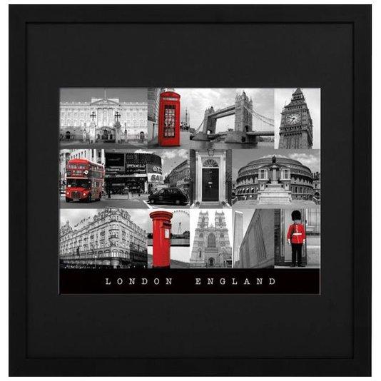 Quadro Decorativo com Moldura Preta Pontos Turísticos de Londres 70x70cm
