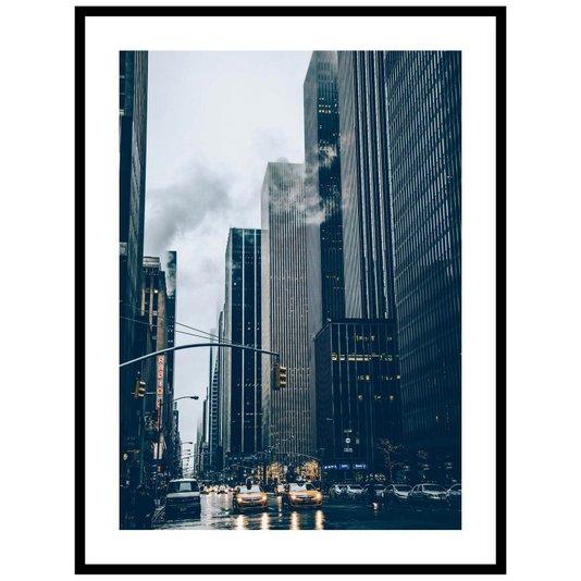 Quadro Decorativo com Moldura Preta Prédios na Cidade de Nova Iorque 60x80cm