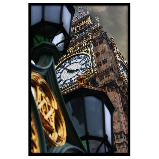Quadro Decorativo com Moldura Preta Relógio Big Ben 60x90cm