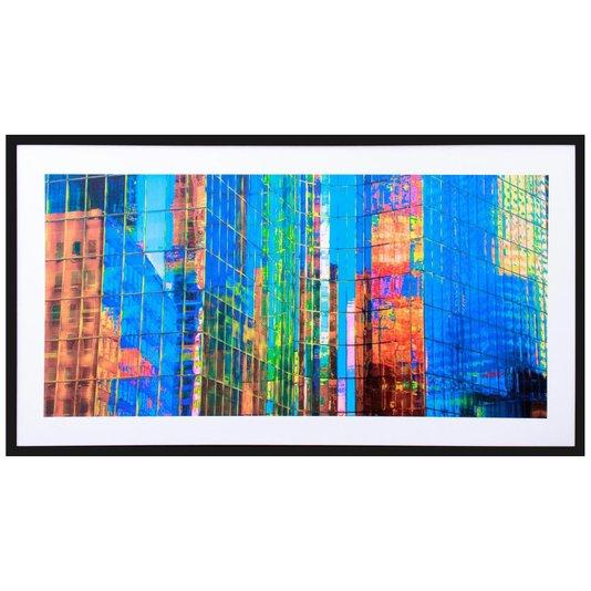 Quadro Decorativo com Moldura Preta Retângulos Coloridos 130x70cm