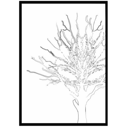 Quadro Decorativo com Moldura Preta Silhueta de Árvore 70x100cm