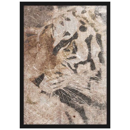 Quadro Decorativo com Moldura Preta Tigre de Bengala 30x40cm