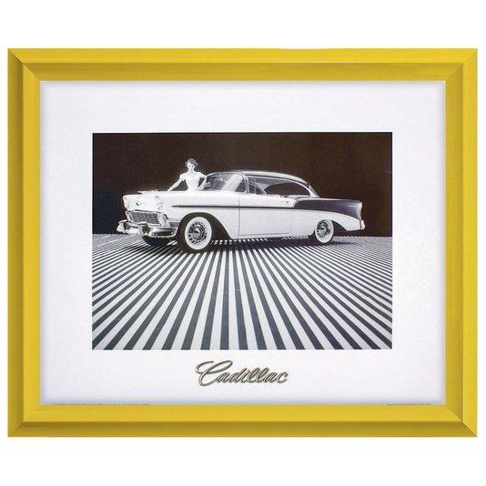 Quadro Decorativo com Moldura Retrô Carro Antigo Cadillac 60x50cm