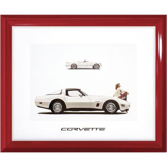 Quadro Decorativo com Moldura Retrô Carro Antigo Corvette 60x50cm