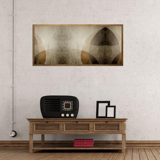 Quadro Decor Abstrato com Moldura Rústica Tingida 150x70cm