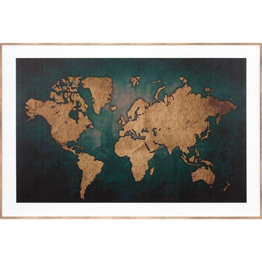Quadro Decorativo com Moldura Bronze Mapa na Cor Marrom 90x60cm
