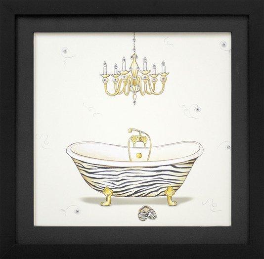 Quadro Decorativo com Strass Banheira com Detalhes em Dourado 35x35cm