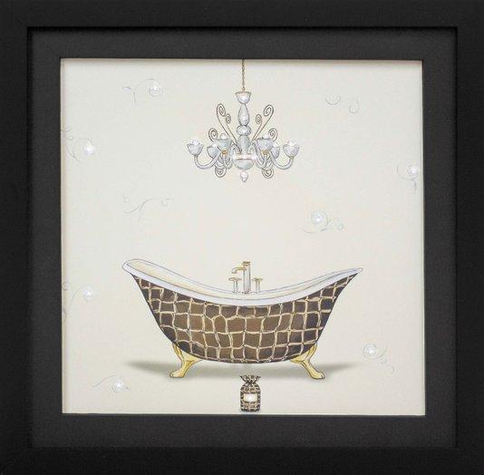 Quadro Decorativo com Strass Banheira Marrom com Detalhes em Dourado 35x35cm