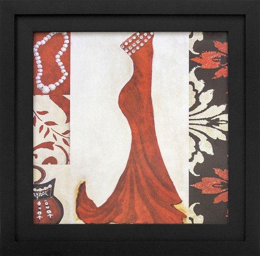Quadro Decorativo com Strass Vestido Vermelho 35x35cm