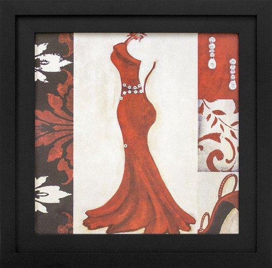 Quadro Decorativo com Strass Vestido Vermelho Aberto nas Costas 35x35cm
