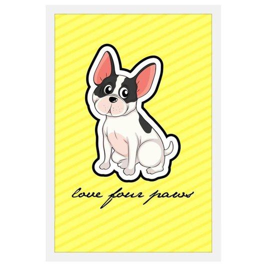 Quadro Decorativo de Cachorro com Moldura Branca e Frase Amor Pelas Patas 40x60cm