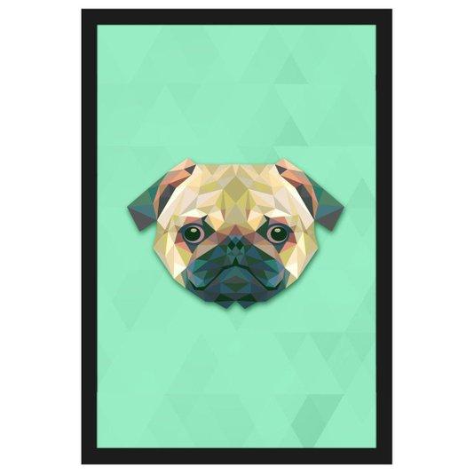 Quadro Decorativo de Cachorro com Moldura Preta Desenho Pug 40x60cm