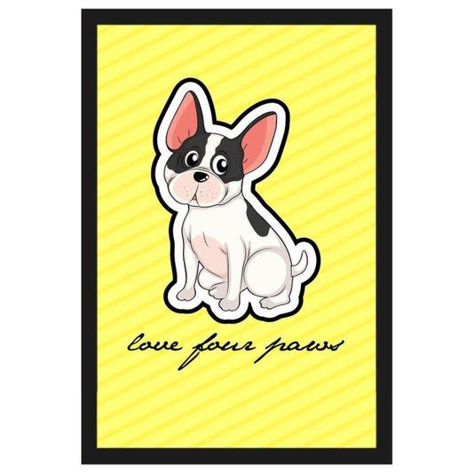 Quadro Decorativo de Cachorro com Moldura Preta e Frase Amor Pelas Patas 40x60cm