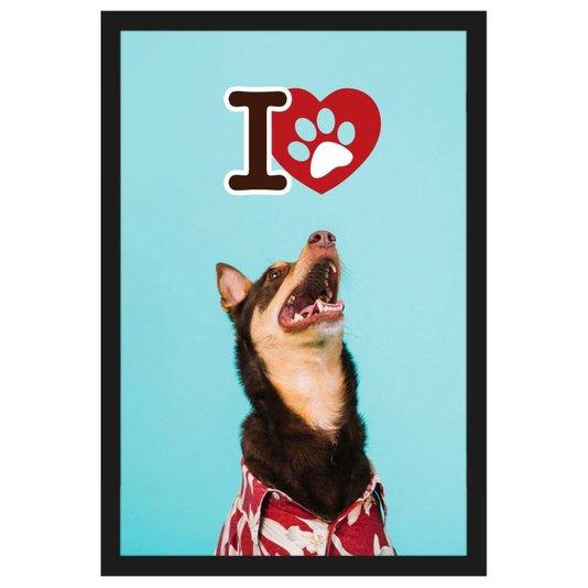 Quadro Decorativo de Cachorro com Moldura Preta e Frase Eu Amo Pet 40x60cm