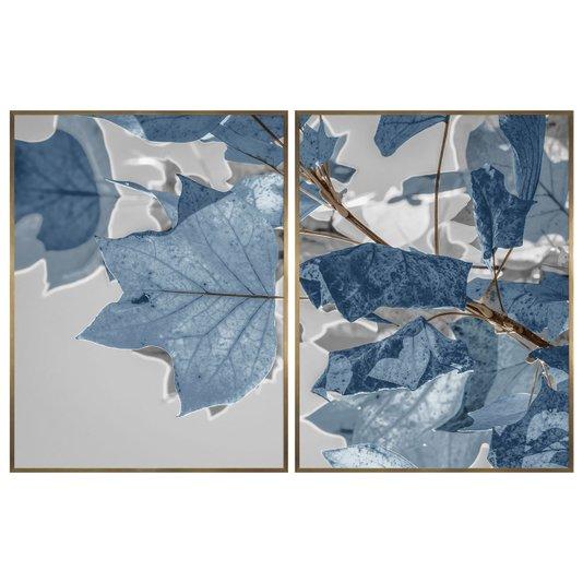 Quadro Decorativo Díptico Folhas de Outono Azul 120x80 cm