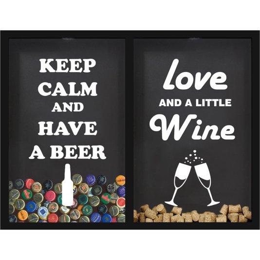 Quadro Decorativo Duplo Porta Tampinhas Keep Calm e Porta Rolhas Love And a Little Wine