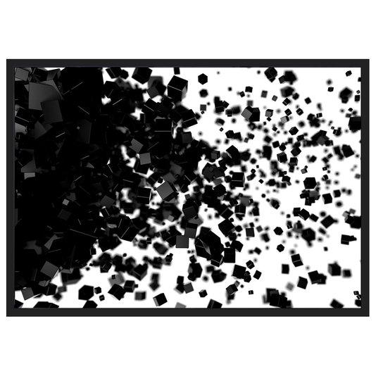Quadro Decorativo em Preto e Branco Abstrato Quadrados 100x70cm