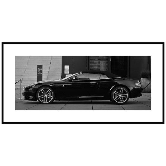 Quadro Decorativo em Preto e Branco Aston Martin Conversível 140x70cm