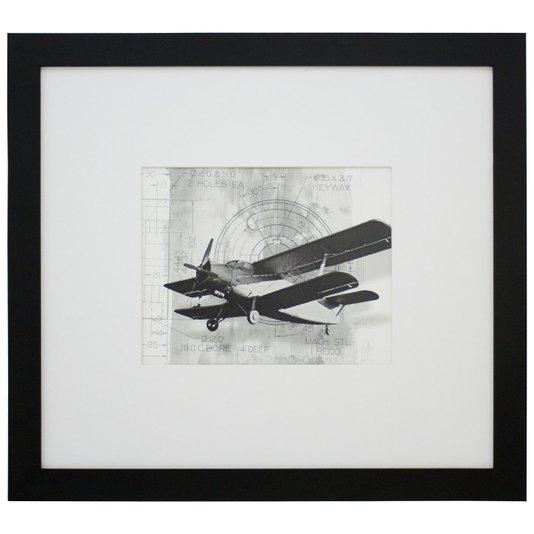 Quadro Decorativo em Preto e Branco Avião Antique 50x40 cm