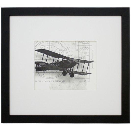 Quadro Decorativo em Preto e Branco Avião Antique II 50x40 cm
