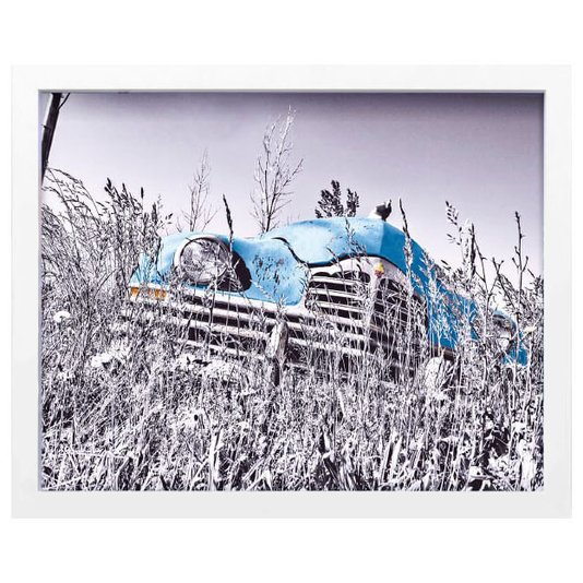 Quadro Decorativo em Preto e Branco Carro Antigo Azul Abandonado 50x40cm