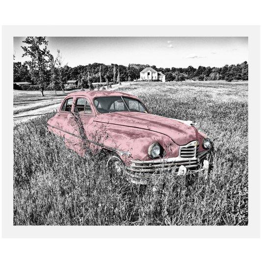 Quadro Decorativo em Preto e Branco Carro Antigo Rosa Abandonado 50x40cm