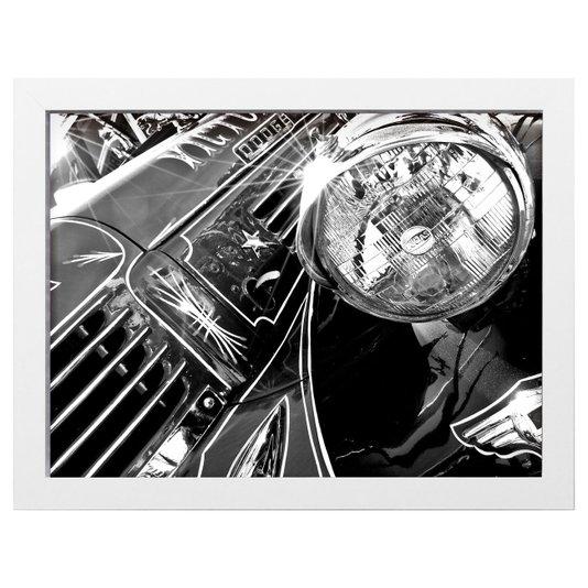 Quadro Decorativo em Preto e Branco Carro Dodge Antigo 40x30cm
