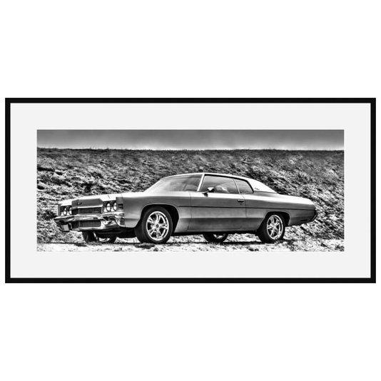 Quadro Decorativo em Preto e Branco Chevrolet Impala 1972 Clássico 140x70cm
