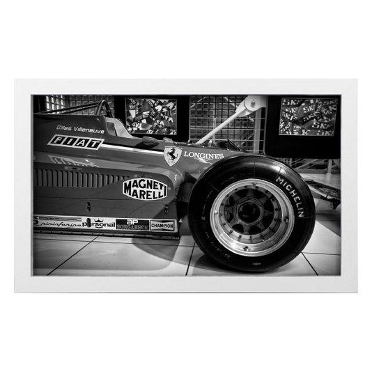 Quadro Decorativo em Preto e Branco F1 Gilles Villeneuve 50x30cm