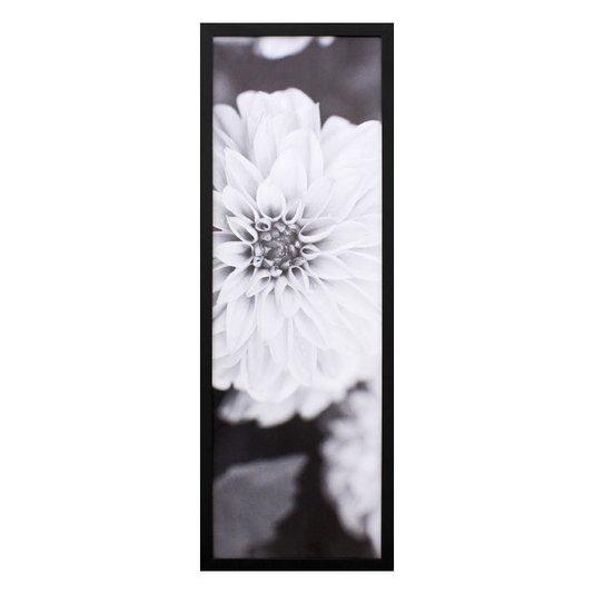 Quadro Decorativo em Preto e Branco Floral 30x90cm