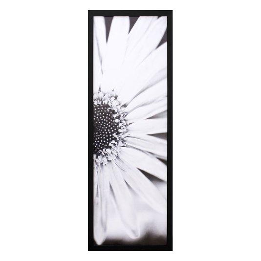 Quadro Decorativo em Preto e Branco Floral II 30x90cm