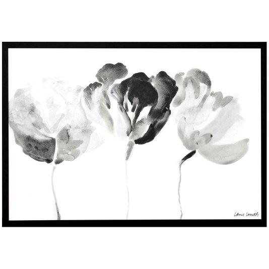 Quadro Decorativo em Preto e Branco Floral Raio-X 90x60cm