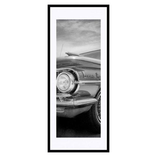 Quadro Decorativo em Preto e Branco Frente Carro Antigo 50x120cm