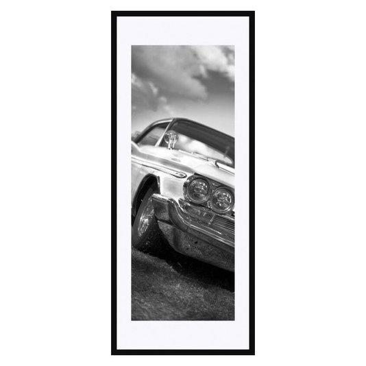 Quadro Decorativo em Preto e Branco Frente Carro Antigo com Grade Cromada 50x120cm