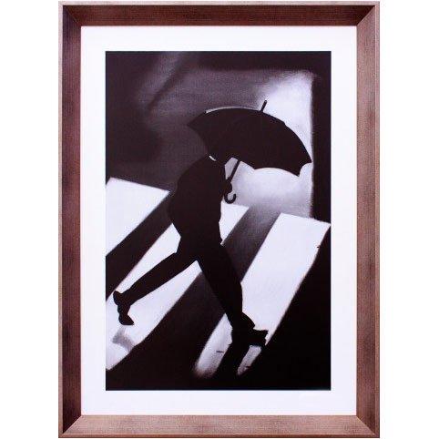 Quadro Decorativo em Preto e Branco Homem com Guarda-Chuva 55x75cm