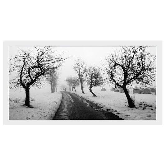 Quadro Decorativo em Preto e Branco Inverno Neve 70x40cm