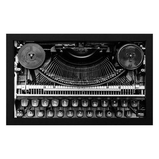 Quadro Decorativo em Preto e Branco Maquina de Escrever 50x30cm