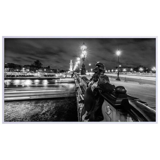 Quadro Decorativo em Preto e Branco Ponte Alexandre III em Paris 150x80cm