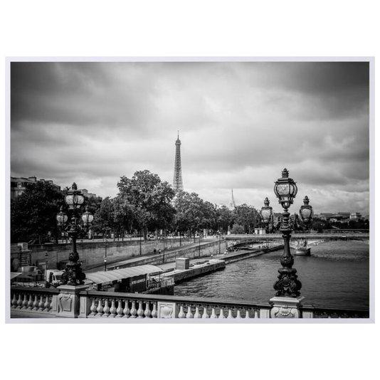 Quadro Decorativo em Preto e Branco Rio Sena e Torre Eiffel ao Fundo em Paris 140x100cm