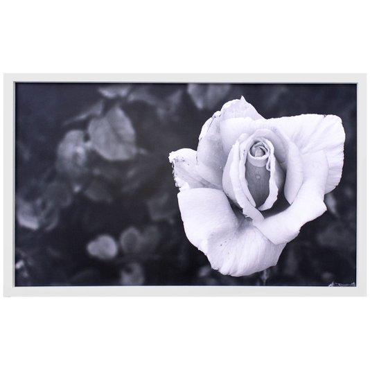 Quadro Decorativo em Preto e Branco Rosa Desabrochando 100x60cm