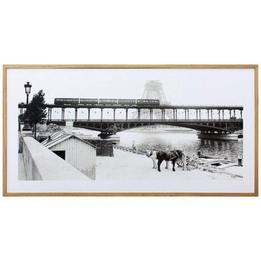 Quadro Decorativo em Preto e Branco Torre Eiffel Paris 100x50cm