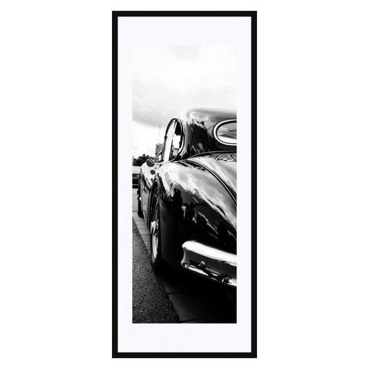 Quadro Decorativo em Preto e Branco Traseira Carro de Luxo Antigo 50x120cm