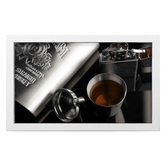 Quadro Decorativo em Preto e Branco Whisky Jeam Bean 50x30cm