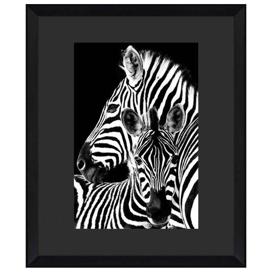 Quadro Decorativo Família Zebras Moldura Chanfrada Alto Padrão 110x130cm