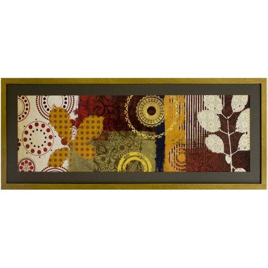 Quadro Decorativo Floral Abstrato com Moldura Dourada 100x40cm