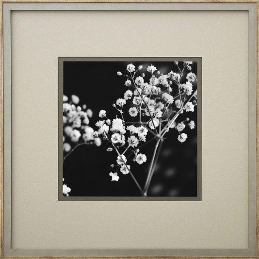 Quadro Decorativo Floral Arte Flowers em Preto e Branco 50x50cm