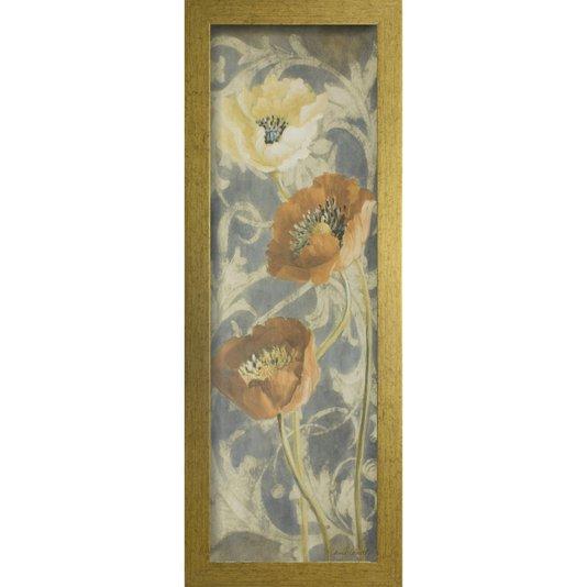 Quadro Decorativo Floral poppies de Blue II Arte de Lanie Loreth 30x90cm