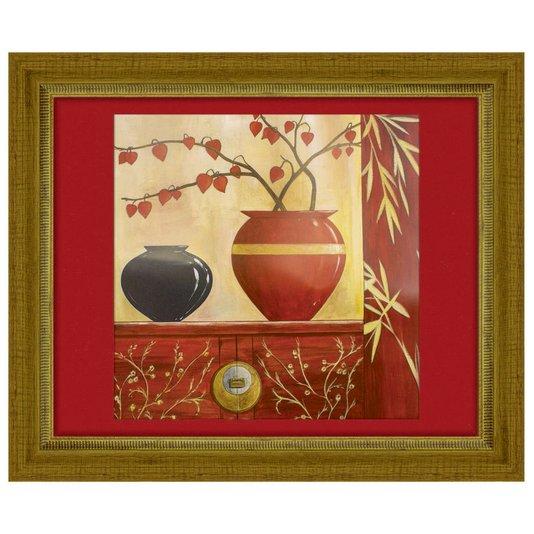 Quadro Decorativo Floral Vaso Preto e Vermelho 115x95cm